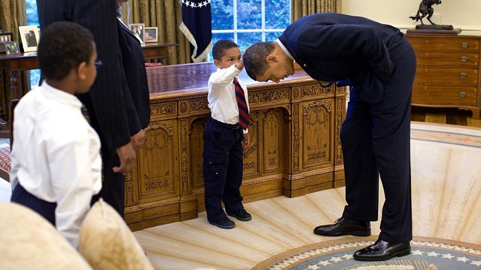 A Young Boy wanted to See if the Presidents Hair Was Like His