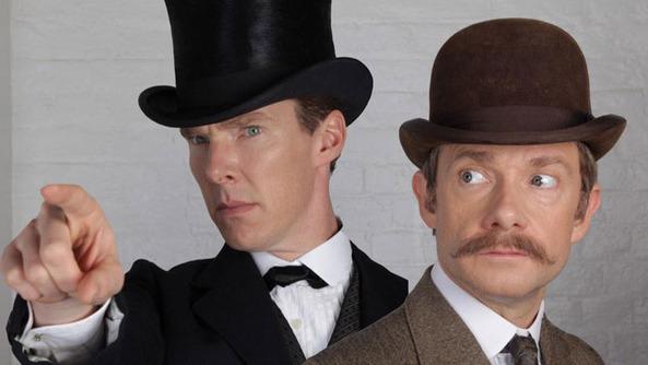 Freeman and Cumberbatch Go Victorian in New Official <em>Sherlock</em>  Pic