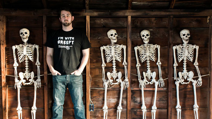 New England Man Spends Halloween With a Family of Skeletons