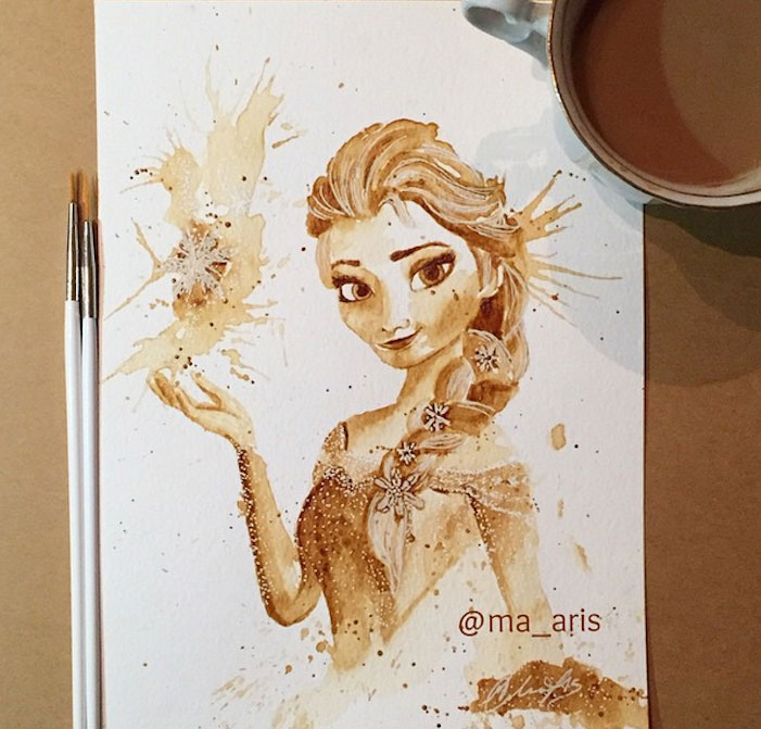 Coffee Paintings Of Your Favorite Disney And Star Wars Characters