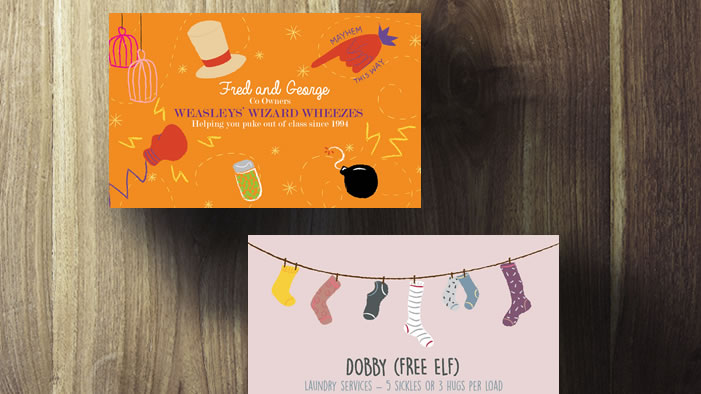 Sparklife business cards for your favorite harry potter characters reheart Gallery