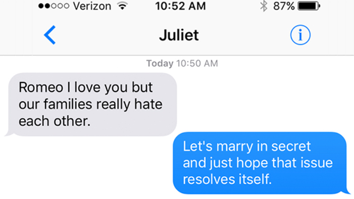 <em>Romeo and Juliet</em> As Told in a Series of Texts