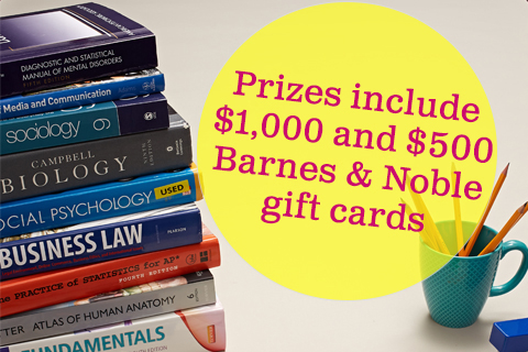 a Barnes & Noble Gift Card worth $1,000 (1st prize) or $500 (2nd prize)