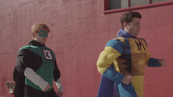 Ed Sheeran Video-Bombs Hoodie Allen's Music Video in Superhero Suit