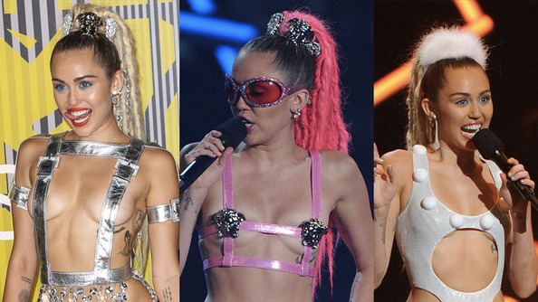 "Debate Club: The ""Free the Nipple"" Argument, Illustrated With Miley Cyrus's VMA Costumes"