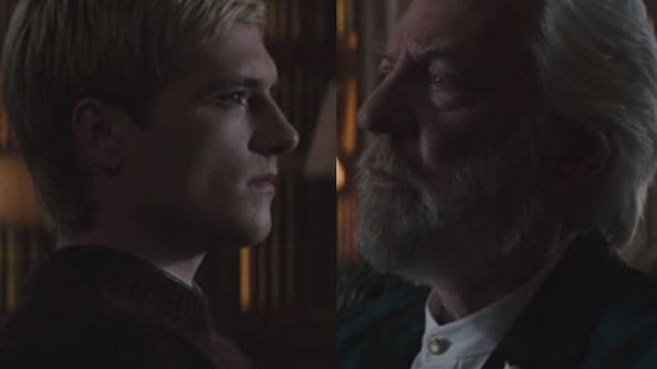 Peeta and President Snow Trade Watery Glances in This Chilling Deleted Scene From <i>Mockingjay Part 1</i>