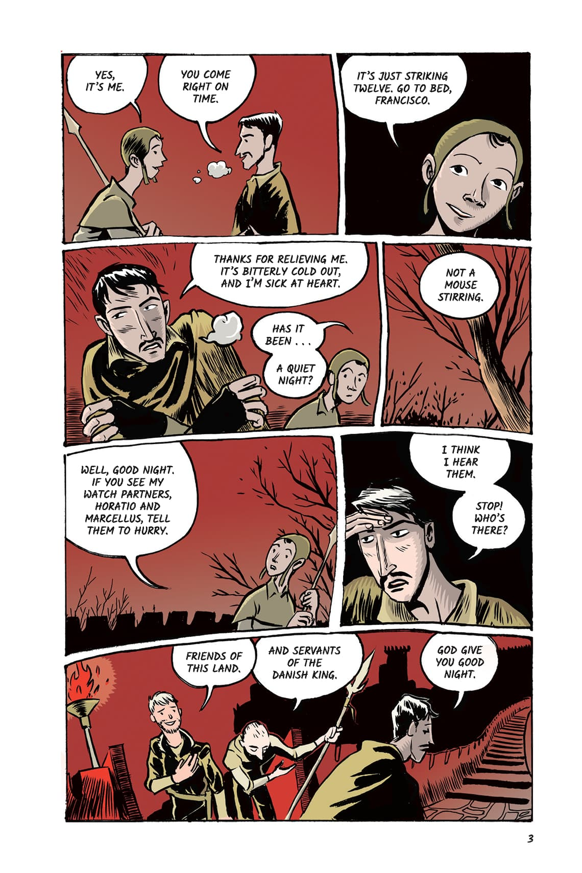Hamlet Act 1 Scene Page 3 Graphic Novel Sparknotes No Fear Shakespeare