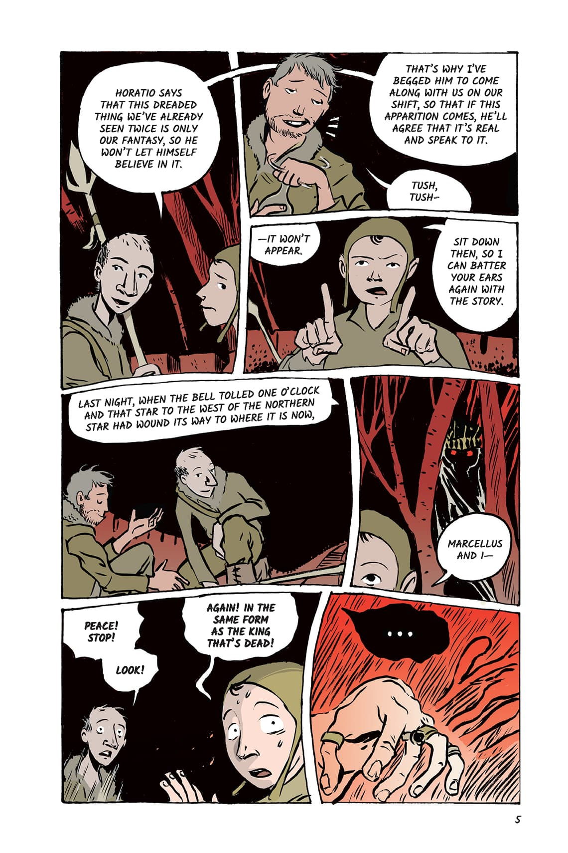 Hamlet Act 1 Scene Page 5 Graphic Novel Sparknotes No Fear Shakespeare