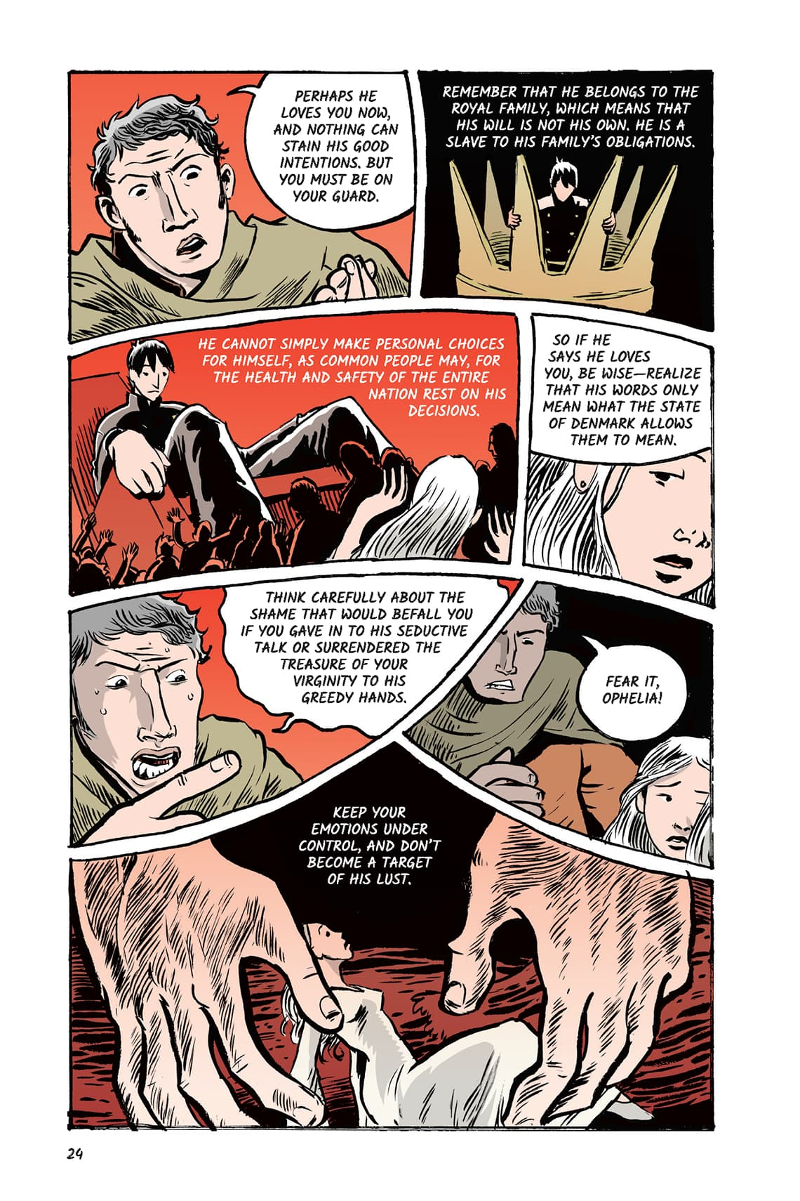 Hamlet Act 1 Scene 3 Page 24 Graphic Novel Sparknotes No Fear Shakespeare